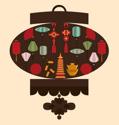 chinese lantern silhouette vector image vector image