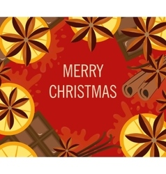 Christmas background with orange and spices Xmas vector image