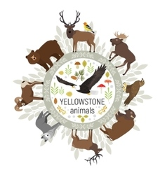 Circle template of yellowstone national vector