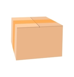 Closed cardboard box taped up cartoon icon vector image