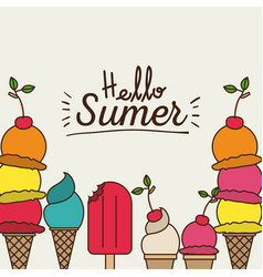 Colorful poster of hello summer with variety of vector