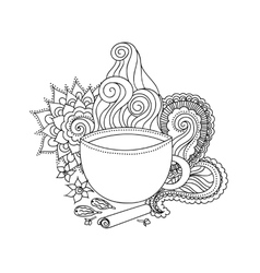 Cup of masala tea and flavoring ethnic pattern vector