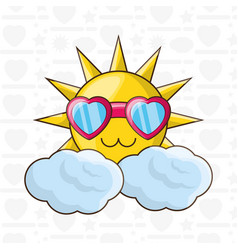 Cute sun with glasses over soft cloud vector