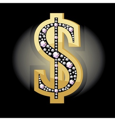 Dollar symbol in diamonds vector image