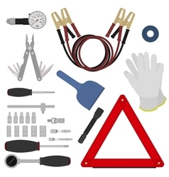 Emergency road kit items set vector