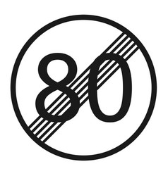 End maximum speed limit 80 sign line icon vector