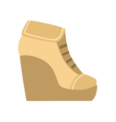 female brown wedge bootie isolated footwear flat vector image