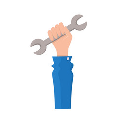 flat man hand holding wrench vector image vector image