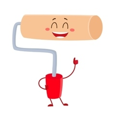 Funny paint roller tool character smiling and vector