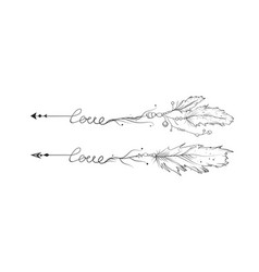 hand drawn set of love lettering arrows vector image