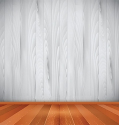 Interior with wooden floor and walls vector