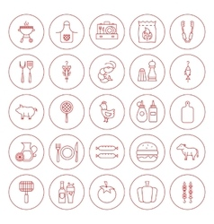 Line Circle BBQ Icons Set vector image