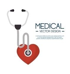 Medical stethoscope heart design label vector