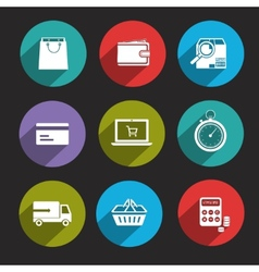 Online Shopping Icons Flat vector image vector image