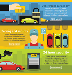 Parking security banner horizontal set flat style vector