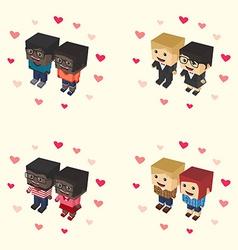 Romance block isometric cartoon character vector