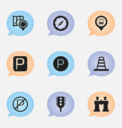 set of 9 editable navigation icons includes vector image
