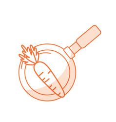 Silhouette carrot vegetable inside skillet pan vector