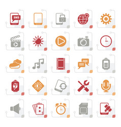 stylized mobile phone interface icons vector image vector image