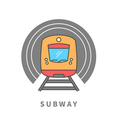 Subway train in the tunnel vector