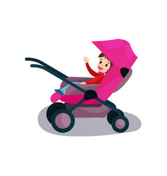 sweet kid sitting in a pink modern baby stroller vector image vector image