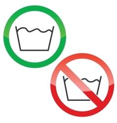 Wash permission signs set vector