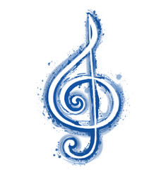 Watercolor sign treble clef for a musical concert vector