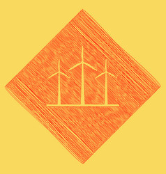Wind turbines sign red scribble icon vector