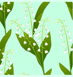 White lily of the valley on green mint background vector