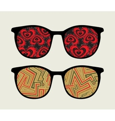 Retro sunglasses with retro reflection in it vector