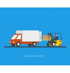 Delivery truck with forklift vector