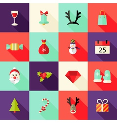 Christmas square flat icons set 2 vector