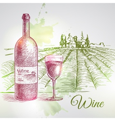 Hand drawn wine background vector