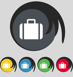 Suitcase icon sign symbol on five colored buttons vector