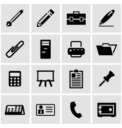 Black office icon set vector