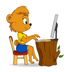 Cute female cartoon bear typing on computer vector