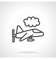 Black line air vehicle in sky icon vector