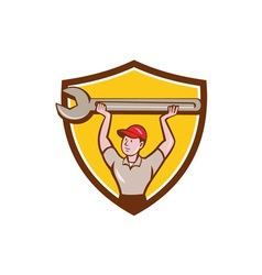 Mechanic lifting giant wrench crest cartoon vector
