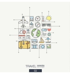 Travel integrated thin line symbols modern color vector