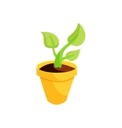 Green plant in a yellow pot icon cartoon style vector