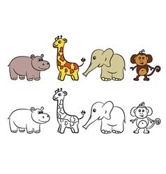 animals set coloring book vector image vector image
