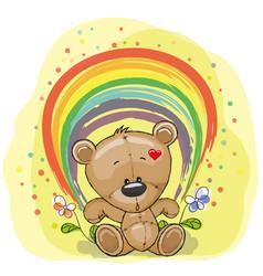 bear with rainbow vector image vector image