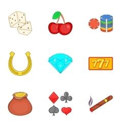 Casino game icons set cartoon style vector