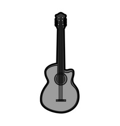 Cute grey guitar cartoon vector