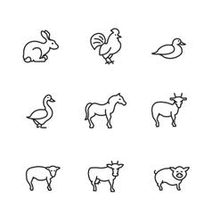 Farm animals line icons set vector