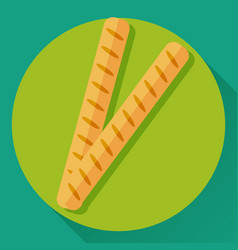 flat icon of two french baguettes vector image vector image