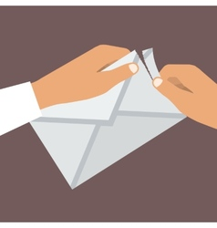 Human Hands Opens Envelope Flat style vector image vector image