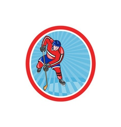 Ice Hockey Player Front With Stick Retro vector image