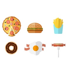 Junk food icons set junk food logo set vector