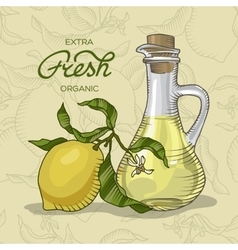 Lemon branch with fruit and carafe of juice vector